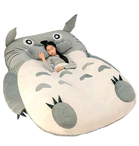 Qianyuyu Totoro Tatami Sacco a Pelo Materasso Caldo Fumetto Totoro Tatami Letto Matrimoniale Doppio per Adulti e Bambini Divano Letto Beanbag Morbido,A,180 * 250 cm