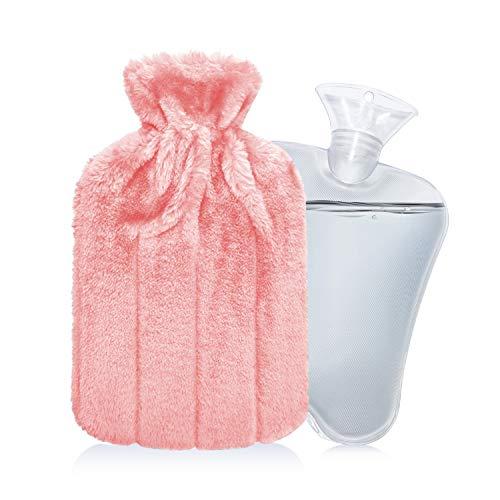 IZTOSS 湯たんぽ 容量2L エコ湯タンポ お湯入れ 注水式 柔らかく温かいなカバー付き 防寒グッズ 足 冷え対策 疲れ緩和 生理期最適 (ライトピンク, 2L)