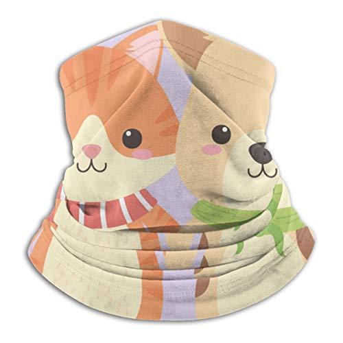 Leuke en kleine dog met kat-karakters fleece nek warmer heat trapping zonwerend nek tube soft elastisch balaclava half masker unisex windproof skinek gaiser cover voor winter skiing rond.