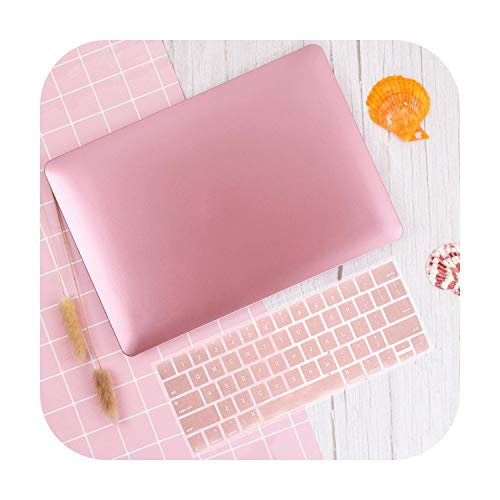 Beschermhoes voor laptop MacBook Air Retina 11 12 13 15 Mac Book Pro 13 3 15 4 inch Touch Bar 2019 2018 Hard Shell Sleeve + Keyboard Cover Metal Pink-Air11 A1370 A1465