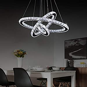 """Crystal Chandelier, 27.5"""" x 19.6"""" x 11.8"""" Dining Room Living Room Modern LED Ceiling Pendant Light Contemporary 3 Rings Adjustable Stainless Steel Lighting Fixtures (3r Cool White)"""