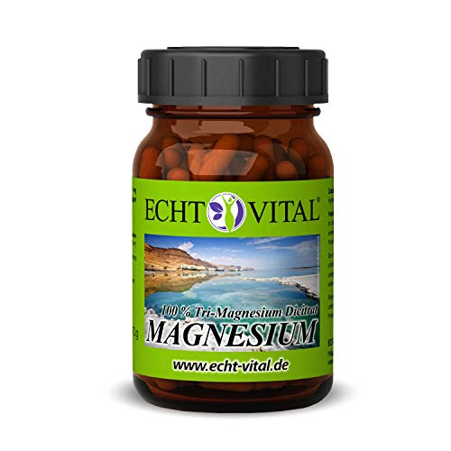 Echt Vital Magnesium - 100% Tri-Magnesium Dicitrat mit 500 mg pro Kapsel (vegan) - 1 Glas mit 120 Kapseln