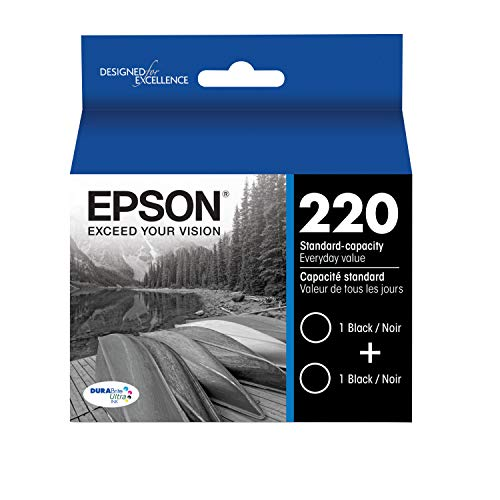 Epson DURABrite Ultra Black Dual Pack Standard Capacity Cartridge Ink for Select Epson Printer (T220120-D2)