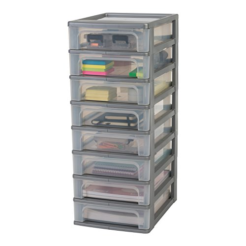 Amazon Basics OCH-2080 Iris Ohyama, Torre de Almacenamiento con 8 cajónes-Organizer Chest OCH-2080-Plástico, Plata/Transparente, 60 L, 26 x 35,5 x 65,5 cm, Gris, 8 x 4 L