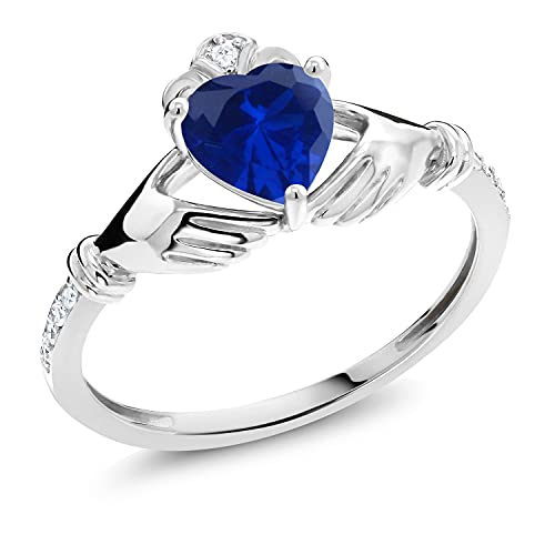 Gem Stone King 10K White Gold Blue Created Sapphire and White Diamond Women Irish Celtic Claddagh Ring (0.86 Ct Heart Shape, Gemstone Birthstone, Available in size 5, 6, 7, 8, 9)