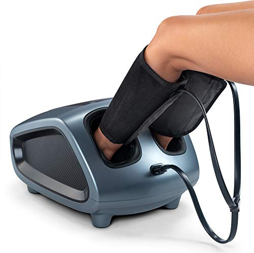 Belmint Shiatsu Foot Massager Machine with Heat and Air Compression Cuffs for Legs, Calf, Feet, and...