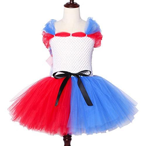 Halloween Cosplay Clown Mädchen Harley Quinn Kostüm Tutu Kleid Rot Blau Baby-Kind-Urlaub Ribbon Tulle Kleider,Red,23Y