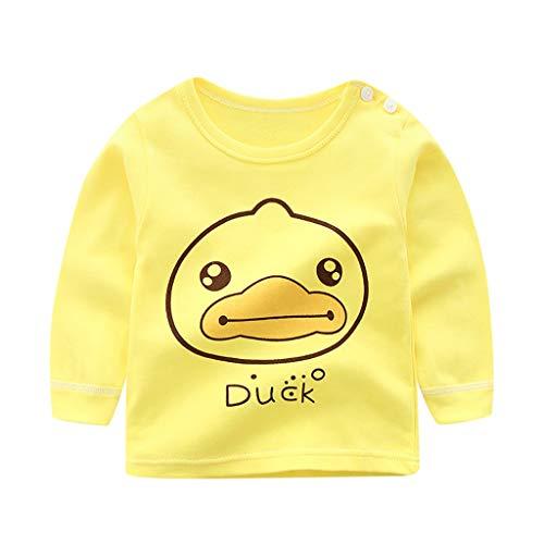 MRULIC Baby Kinder Tops Baumwolle Schöne Cartoon Tier Gedruckt Langarm Unisex T-Shirt Tops Pullover Button Shirt Bluse Jumper 0-3 Jahre(Gelb,12-18 Monate)