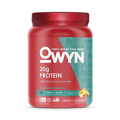OWYN Only What You Need 100% Vegan Plant-Based Protein Powder, Strawberry Banana, Dairy Free, Gluten Free, Soy Free, Vegetarian, 1.1 Pound Tub, 1 Count