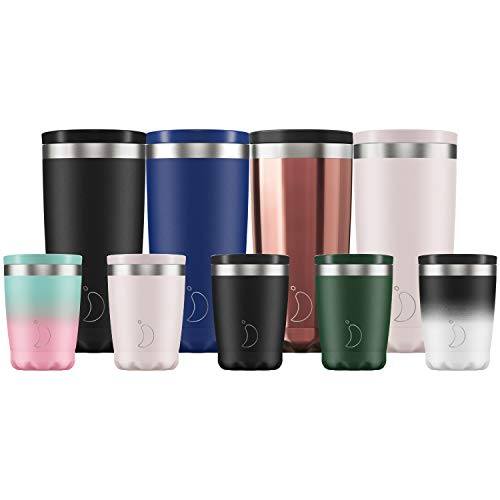 Chilly's isolierte Kaffeetasse - Doppelwandige Kaffeetassen mit Deckel - Rostfreier Stahl - Monochrom Schwarz, 340ml