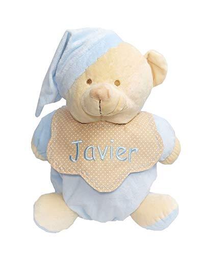 Peluche guarda pijamas para bebés personalizado con su nombre bordado a máquina. Azul.