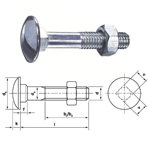 100 Flachrundschrauben-Schlossschrauben DIN 603 verzinkt 8x120