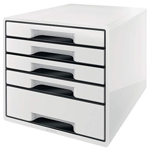 Leitz CUBE Schubladenbox mit 5 Fächern, perlweiß /schwarz, A4, Inkl. transparentem Schubladeneinsatz, WOW, 52531001