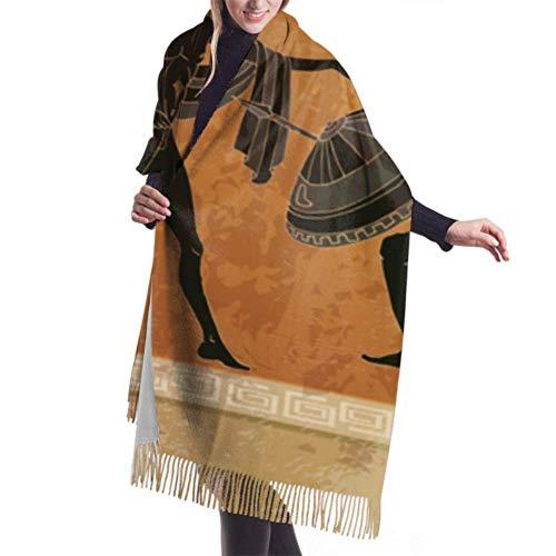 Hdadwy 27 'x77' Schal für Mädchen Schwarzer Keramik Altgriechischer Mythologie-Schal mit Fransen Designer-Schal Stilvolle große warme Decke