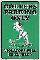 ゴルファー専用駐車場の金属の錫のゴルフサイン