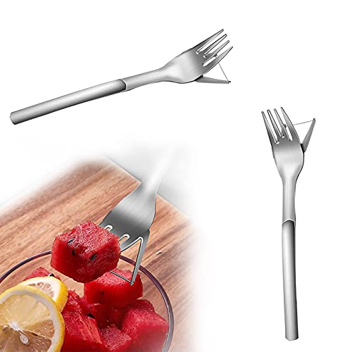 HGFG 1 2PCS Watermelon Cutter Slicer, 2-in-1 Watermelon Fork Slicer, Watermelon Divider, Stainless Steel Fruit Carving Cutter Knife, Kids Fascinated Melon Cuber Cutting Tool (2PC)