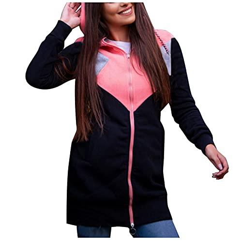 Briskorry Chaqueta de entretiempo para mujer, con capucha, de manga larga, informal, con capucha, de tela, para exterior, abrigo de invierno, Rosa-4., XXL