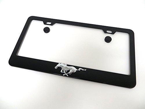 Deepro 3D Pony Running Horse Black Metal License Plate Frame Tag Holder with Screw Cap Covers Fit Mustang