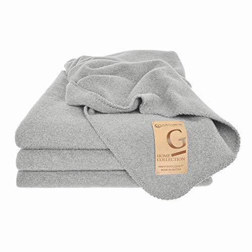 GIESSWEIN Wolldecke Marie - Decke aus Lammwolle, Warme Decke, Hochwertige Tagesdecke, Kuschelig weiche Wolldecke aus natürlicher Schurwolle, atmungsaktive Schurwolldecke, 150 x 190 cm