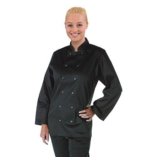 Whites Chefs Apparel A438-XXL Vegas Kochjacke, langärmelig, Polycotton, Größe XXL, Schwarz