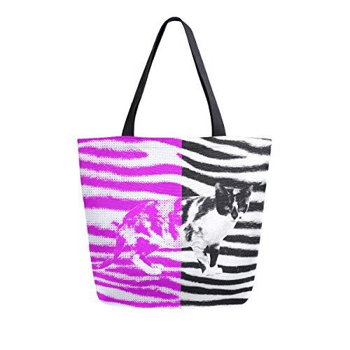Naanle Lustige Katzen-Tasche aus Segeltuch, große Damen-Schultertasche, Handtasche, wiederverwendbar, Mehrzweck-Einkaufstasche aus Baumwolle, für den Außenbereich
