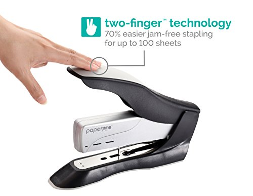 PaperPro inHANCE+100 Heavy Duty Stapler - Two Fingers, No Effort, Spring Powered Stapler - 100 Sheets, Gray (1300) Photo #5