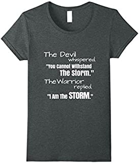 Womens I Am The Storm Shirt Devil Whispers Motivational T-Shirt Large Dark Heather [並行輸入品]
