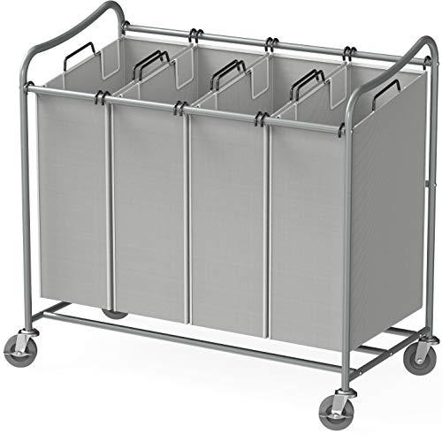 Simple Houseware 4-Bag Heavy Duty Laundry Sorter Rolling Cart Silver