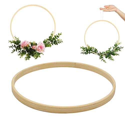 Ruiyuan 3pcs Wooden Bamboo Floral Hoop Multifunctional Macrame Craft Hoop Ring Wreath Round Wooden Hoop for DIY Wedding Christmas Wreath Decor Dream Catcher