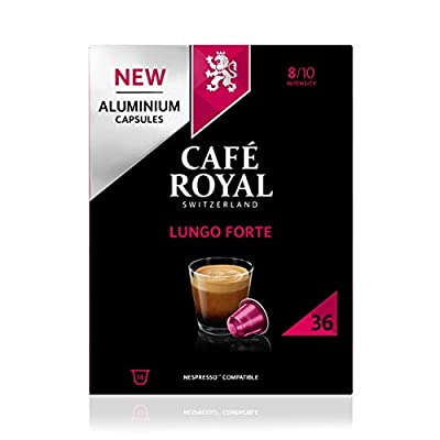 Café Royal Lungo Forte 36 Nespresso (R)* Compatible Aluminium Coffee Pods, Strength 8/10, 0.19 kg