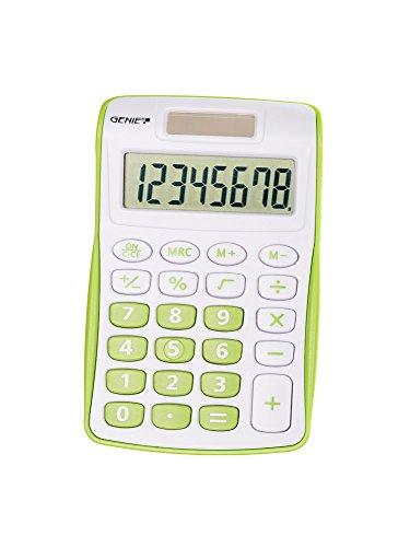 Genie 120 G 8-stelliger Taschenrechner (Dual-Power (Solar und Batterie), kompaktes Design) 1 Stück, grün