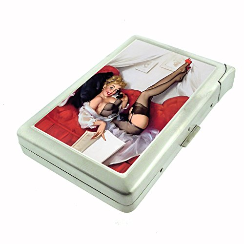 Vintage Retro Sexy Bridesmaid Party Cigarette Case with Built In Lighter Pin Up Girl-139