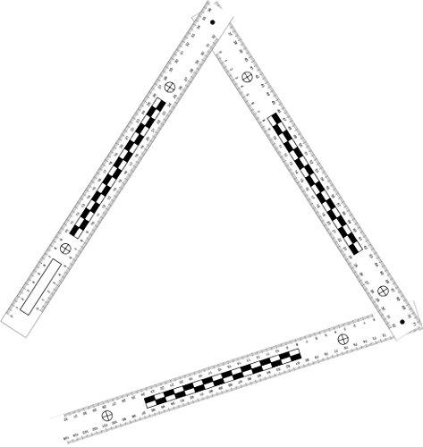 Tatort- und Foto Winkel Lineal aus Kunststoff, FALTBAR (3 x 32 cm (105 cm))