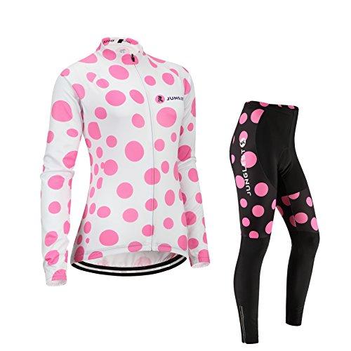(Cojín 3D)(traje tamaño:M) mujer transpirable chaleco maillot rendimiento rompevientos de los sudo Moda larga para ropa ciclismo Jerseys manga