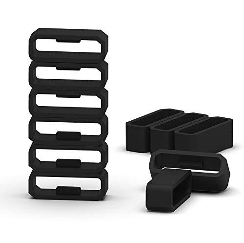 Black Silicon Fastener Ring Security Loop Compatible with Garmin Vivosport/ Vivosmart HR & HR+ Approach X40 Samrtwatch Band(No Bands and Watch)