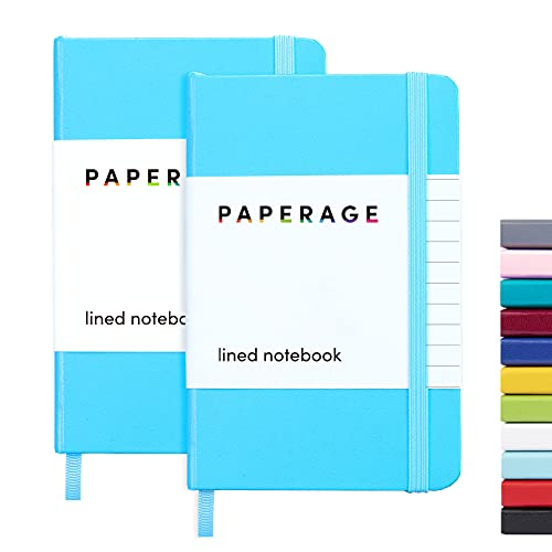 """2-Pack Pocket Notebook Journal Notepad Small, College Ruled, 3.7"""" x 5.6"""", Hard Cover Mini Journal, 100 GSM Thick Paper, Inner Pocket (Skyblue, Lined)"""