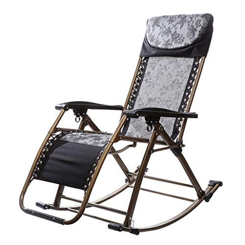 YFF-Tumbonas Mecedora Plegable Negra de Gravedad Cero Silla de salón portátil para Acampar Pesca Playa Junto a la Piscina Máx.