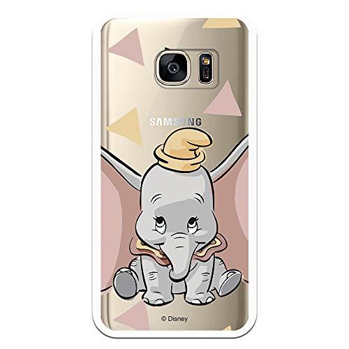 Funda para Samsung Galaxy S7 Oficial de Dumbo Dumbo Silueta Transparente para Proteger tu móvil. Carcasa para Samsung de Silicona Flexible con Licencia Oficial de Disney.