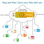 SunData-Chiavetta-USB-16GB-5-Pezzi-PenDrive-Girevole-USB20-Flash-Drive-Thumb-Drive-Memoria-Stick-per-Archiviazione-Dati-con-Luce-LED-5-colori-Nero-Blu-Verde-Rosso-Oro