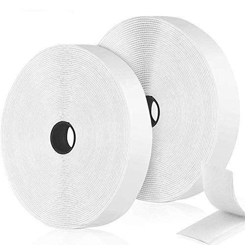 O-Kinee Klettband Selbstklebend, 12m Klettverschluss Klettband, Doppelseitig Klebende mit Klettverschluss 20mm Selbstklebendes Klebepad Flauschband und Hakenband, Weiß