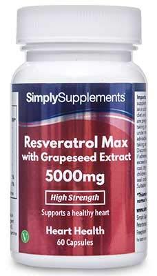 Resveratrol MAX 5000 mg con Extracto de Semilla de Uva - 60 Cápsulas - Apto para veganos - SimplySupplements