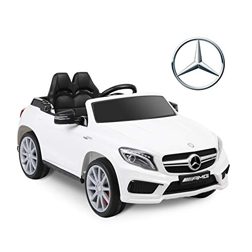 Bable Electric Kids Ride On Car 12V Benz GLA45 Licensed Motorized Vehicles with Remote Control, Kids Car Ride on Toy with Suspension, LED Lights, MP3, Horn, Traction Handle - White