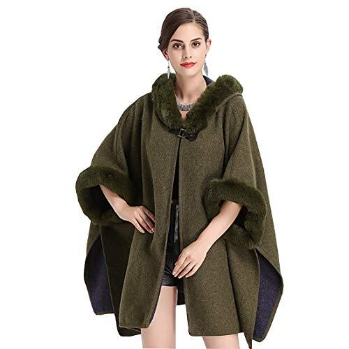 Saoye Fashion Poncho De Mujer Cape Winter Cape Cardigans con Cuello De Ropa de Fiesta Piel Sintética Estolas De Piel Sintética Moda 2019 Ropa De Mujer (Color : Green, Size : Size)