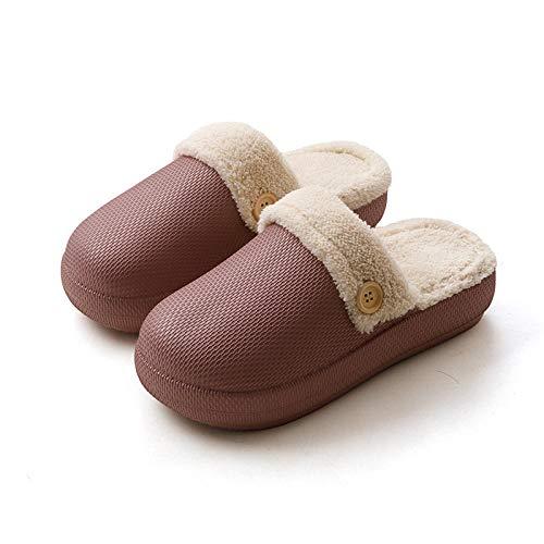 B/H Pantuflas de espuma viscoelástica para hombre, antideslizantes de algodón térmico, soporte inferior grueso para parejas de interiores, morado_37-38, zapatillas de espuma viscoelástica para hombre.