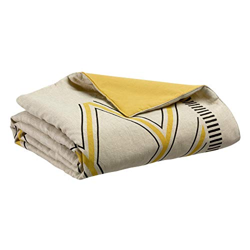 Vivaraise - Édredon Zeff Johan – 80x180 cm - Couverture d'appoint en lin et coton - Garnissage moelleux – Couvre-lit, couette légère réversible