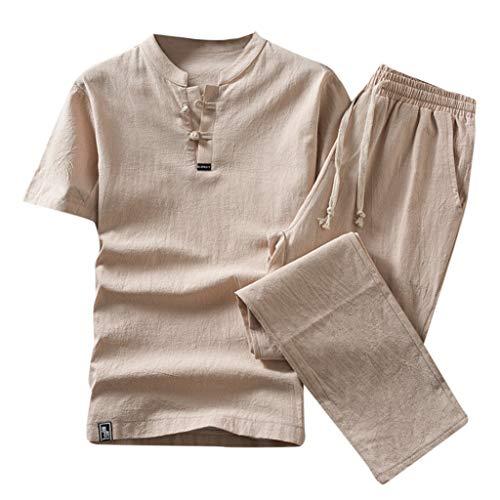 iHHAPY Tracksuit Summer Leisure Men's Cotton and Linen Short Sleeve Pants Set Suit 2 Piece Sportsets Breathable Cool Khaki
