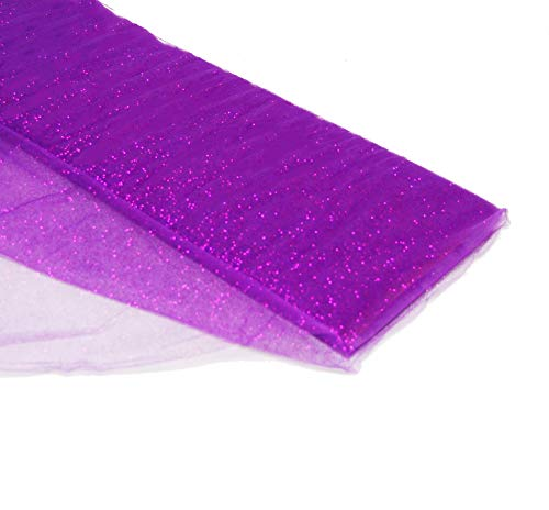 54' by 10 Yards (30 ft) Glitter Fabric Tulle Bolt for Wedding and Decoration (Purple)