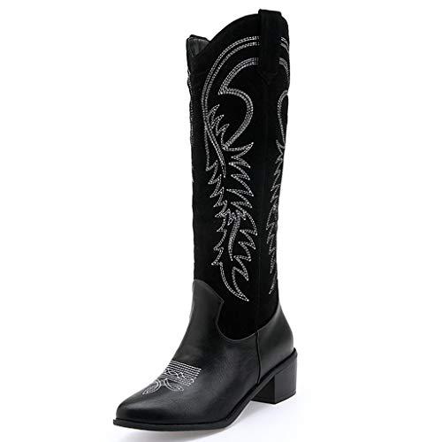 DOLDOA Stiefel Damen,Fashion Damen Low-Heele Square Head Bestickte Western Rodeo Cowboystiefel Schwarz Braun