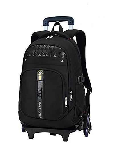 Meetbelify Kids Rolling Backpacks Luggage Six Wheels Unisex Trolley School Bags Black