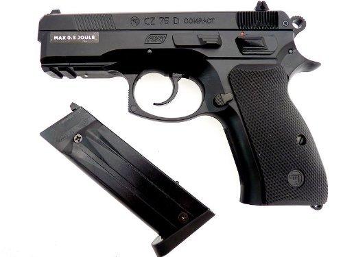 Nick and Ben Original CZ 75D Compact schwarz 6 mm Federdruck Softair-Pistole Sport inkl. 1000 Kugeln 465 g schwer 185 mm 0,4 Joule ab 14 Jahre